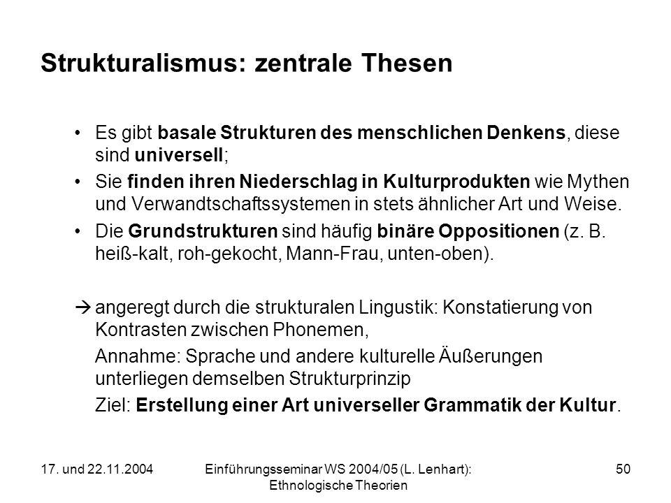 17. und 22.11.2004Einführungsseminar WS 2004/05 (L. Lenhart): Ethnologische Theorien 50 Strukturalismus: zentrale Thesen Es gibt basale Strukturen des