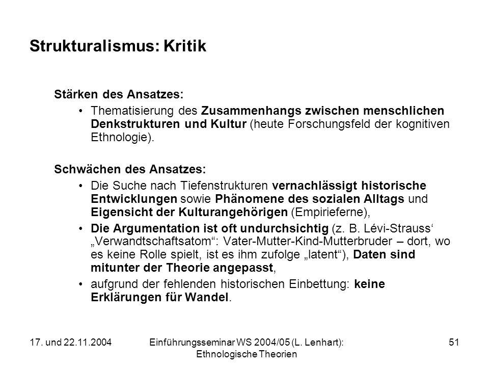 17. und 22.11.2004Einführungsseminar WS 2004/05 (L. Lenhart): Ethnologische Theorien 51 Strukturalismus: Kritik Stärken des Ansatzes: Thematisierung d