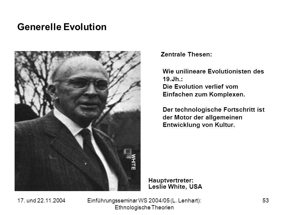 17. und 22.11.2004Einführungsseminar WS 2004/05 (L. Lenhart): Ethnologische Theorien 53 Generelle Evolution Zentrale Thesen: Wie unilineare Evolutioni