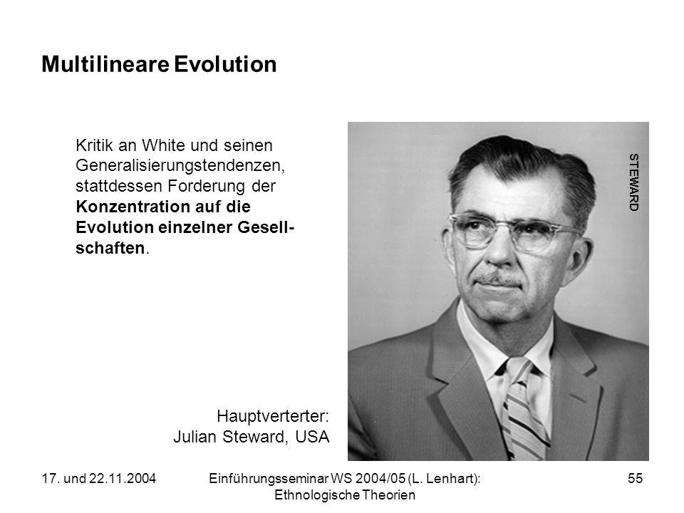 17. und 22.11.2004Einführungsseminar WS 2004/05 (L. Lenhart): Ethnologische Theorien 55 Multilineare Evolution Kritik an White und seinen Generalisier