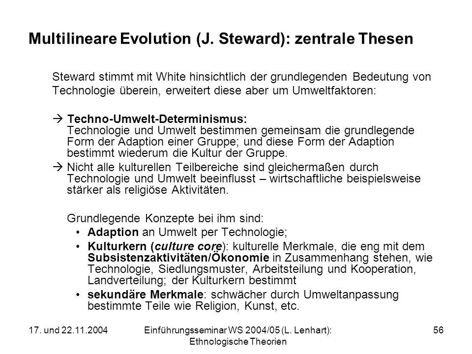 17. und 22.11.2004Einführungsseminar WS 2004/05 (L. Lenhart): Ethnologische Theorien 56 Multilineare Evolution (J. Steward): zentrale Thesen Steward s