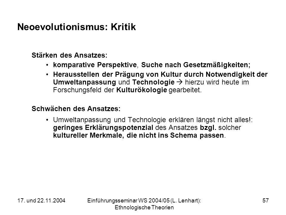 17. und 22.11.2004Einführungsseminar WS 2004/05 (L. Lenhart): Ethnologische Theorien 57 Neoevolutionismus: Kritik Stärken des Ansatzes: komparative Pe