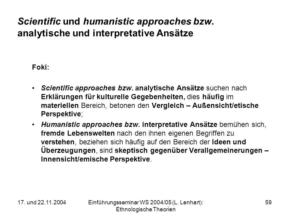 17. und 22.11.2004Einführungsseminar WS 2004/05 (L. Lenhart): Ethnologische Theorien 59 Scientific und humanistic approaches bzw. analytische und inte