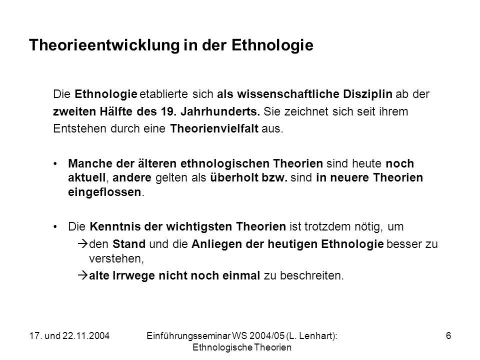 17. und 22.11.2004Einführungsseminar WS 2004/05 (L. Lenhart): Ethnologische Theorien 6 Theorieentwicklung in der Ethnologie Die Ethnologie etablierte