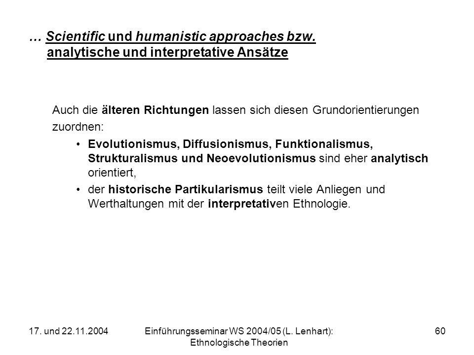 17. und 22.11.2004Einführungsseminar WS 2004/05 (L. Lenhart): Ethnologische Theorien 60 … Scientific und humanistic approaches bzw. analytische und in