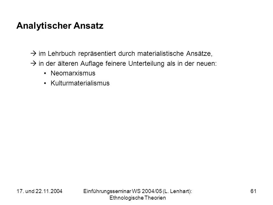 17. und 22.11.2004Einführungsseminar WS 2004/05 (L. Lenhart): Ethnologische Theorien 61 Analytischer Ansatz im Lehrbuch repräsentiert durch materialis