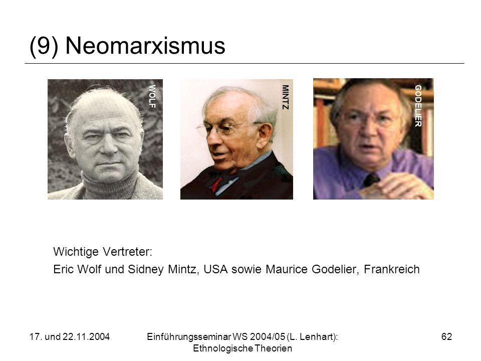 17. und 22.11.2004Einführungsseminar WS 2004/05 (L. Lenhart): Ethnologische Theorien 62 (9) Neomarxismus Wichtige Vertreter: Eric Wolf und Sidney Mint