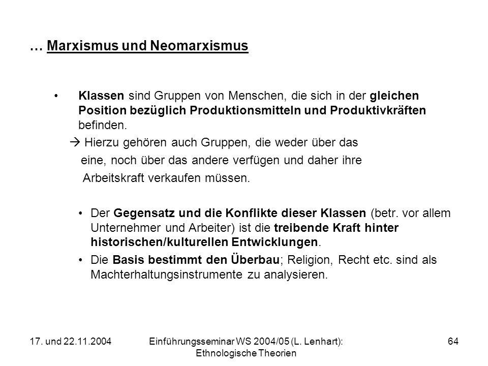 17. und 22.11.2004Einführungsseminar WS 2004/05 (L. Lenhart): Ethnologische Theorien 64 … Marxismus und Neomarxismus Klassen sind Gruppen von Menschen