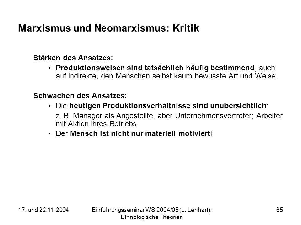 17. und 22.11.2004Einführungsseminar WS 2004/05 (L. Lenhart): Ethnologische Theorien 65 Marxismus und Neomarxismus: Kritik Stärken des Ansatzes: Produ