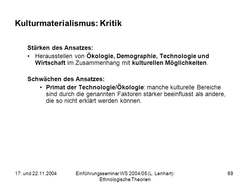 17. und 22.11.2004Einführungsseminar WS 2004/05 (L. Lenhart): Ethnologische Theorien 69 Kulturmaterialismus: Kritik Stärken des Ansatzes: Herausstelle