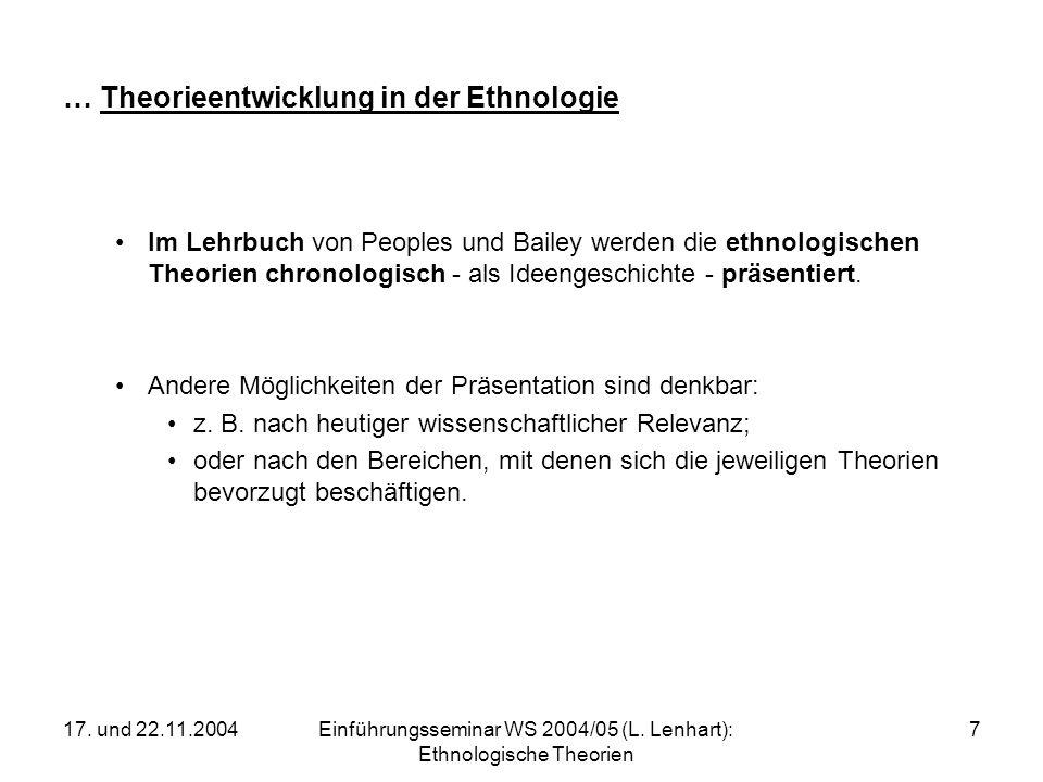 17. und 22.11.2004Einführungsseminar WS 2004/05 (L. Lenhart): Ethnologische Theorien 7 … Theorieentwicklung in der Ethnologie Im Lehrbuch von Peoples