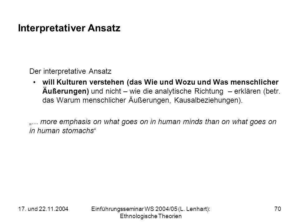 17. und 22.11.2004Einführungsseminar WS 2004/05 (L. Lenhart): Ethnologische Theorien 70 Interpretativer Ansatz Der interpretative Ansatz will Kulturen