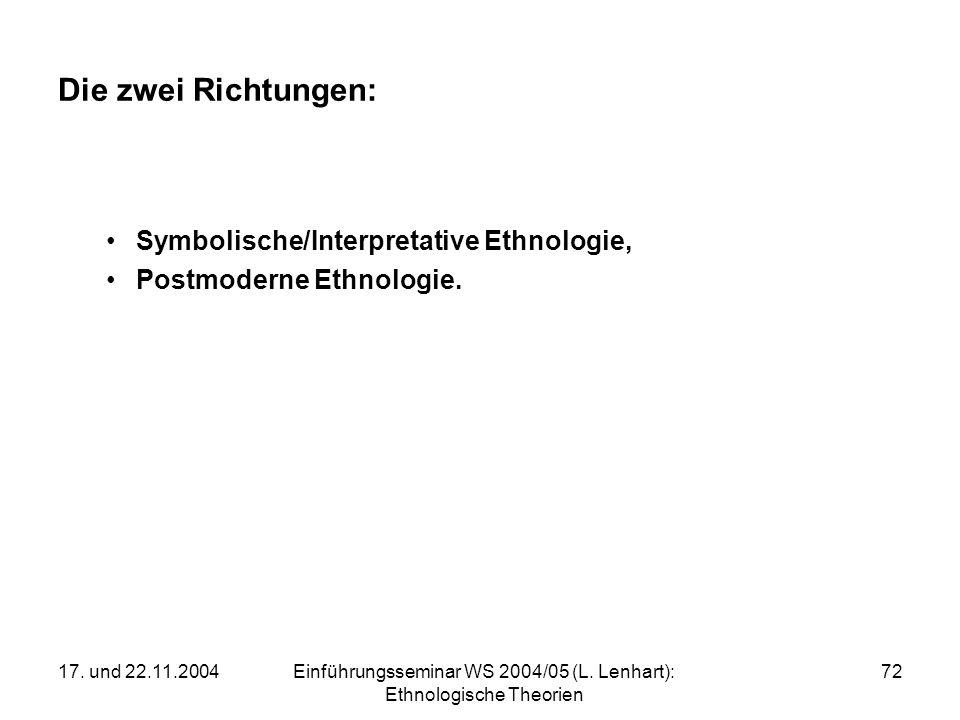 17. und 22.11.2004Einführungsseminar WS 2004/05 (L. Lenhart): Ethnologische Theorien 72 Die zwei Richtungen: Symbolische/Interpretative Ethnologie, Po