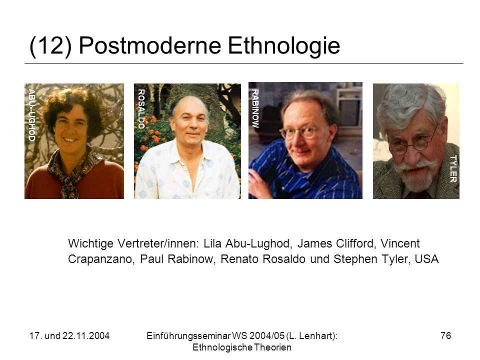 17. und 22.11.2004Einführungsseminar WS 2004/05 (L. Lenhart): Ethnologische Theorien 76 (12) Postmoderne Ethnologie Wichtige Vertreter/innen: Lila Abu
