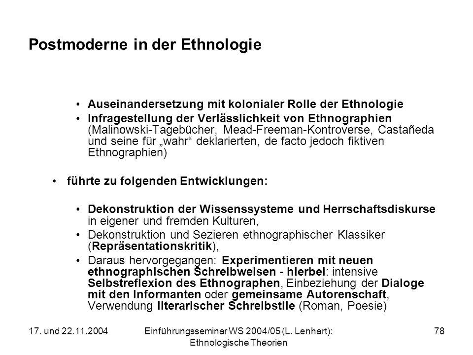 17. und 22.11.2004Einführungsseminar WS 2004/05 (L. Lenhart): Ethnologische Theorien 78 Postmoderne in der Ethnologie Auseinandersetzung mit koloniale