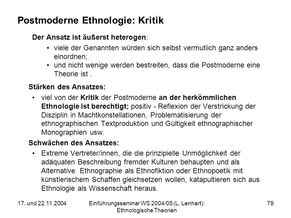 17. und 22.11.2004Einführungsseminar WS 2004/05 (L. Lenhart): Ethnologische Theorien 79 Postmoderne Ethnologie: Kritik Der Ansatz ist äußerst heteroge