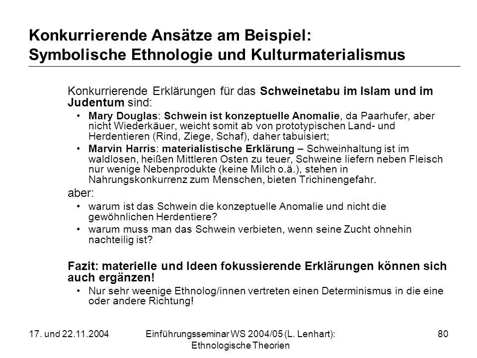 17. und 22.11.2004Einführungsseminar WS 2004/05 (L. Lenhart): Ethnologische Theorien 80 Konkurrierende Ansätze am Beispiel: Symbolische Ethnologie und
