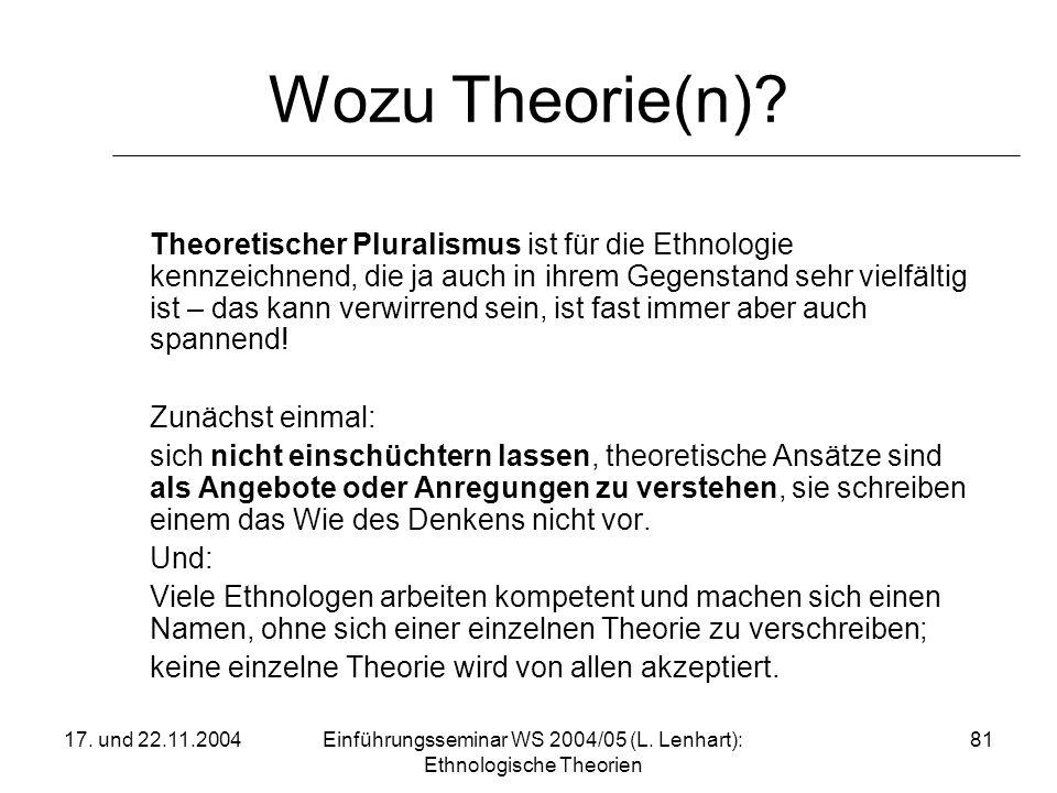 17. und 22.11.2004Einführungsseminar WS 2004/05 (L. Lenhart): Ethnologische Theorien 81 Wozu Theorie(n)? Theoretischer Pluralismus ist für die Ethnolo
