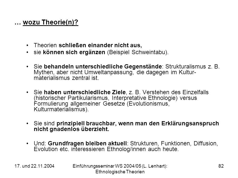 17. und 22.11.2004Einführungsseminar WS 2004/05 (L. Lenhart): Ethnologische Theorien 82 … wozu Theorie(n)? Theorien schließen einander nicht aus, sie