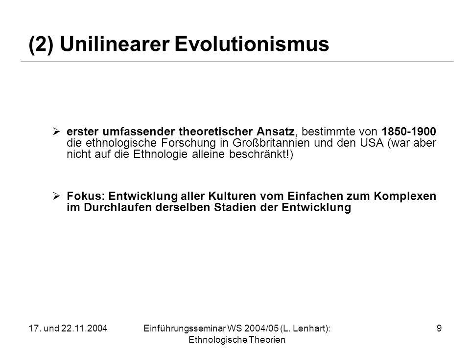 17. und 22.11.2004Einführungsseminar WS 2004/05 (L. Lenhart): Ethnologische Theorien 9 (2) Unilinearer Evolutionismus erster umfassender theoretischer