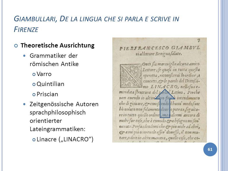 G IAMBULLARI, D E LA LINGUA CHE SI PARLA E SCRIVE IN F IRENZE 61 Theoretische Ausrichtung Grammatiker der römischen Antike Varro Quintilian Priscian Z