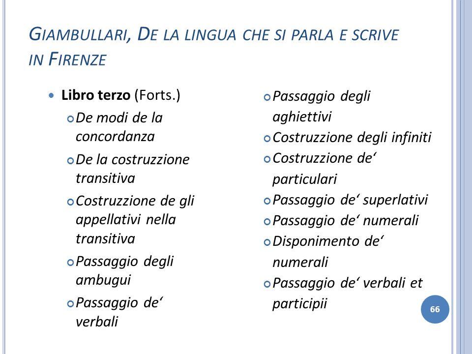 G IAMBULLARI, D E LA LINGUA CHE SI PARLA E SCRIVE IN F IRENZE 66 Libro terzo (Forts.) De modi de la concordanza De la costruzzione transitiva Costruzz