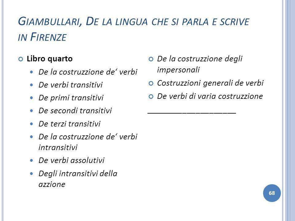 G IAMBULLARI, D E LA LINGUA CHE SI PARLA E SCRIVE IN F IRENZE 68 Libro quarto De la costruzzione de verbi De verbi transitivi De primi transitivi De s