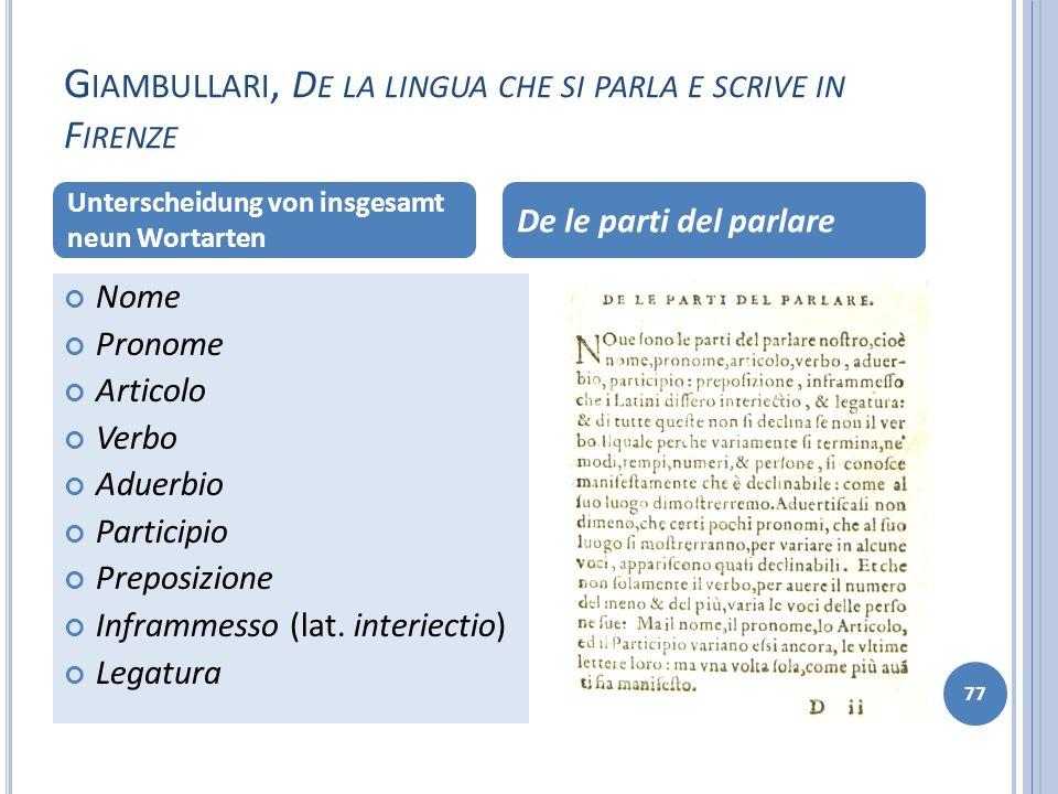 G IAMBULLARI, D E LA LINGUA CHE SI PARLA E SCRIVE IN F IRENZE 77 Nome Pronome Articolo Verbo Aduerbio Participio Preposizione Inframmesso (lat. interi
