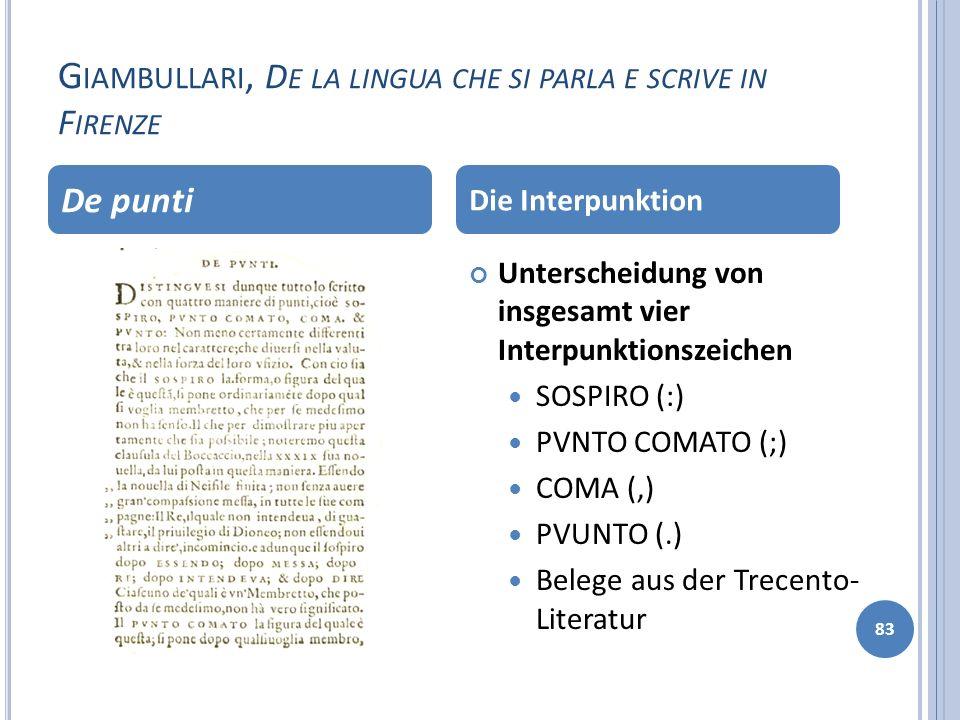 G IAMBULLARI, D E LA LINGUA CHE SI PARLA E SCRIVE IN F IRENZE 83 Unterscheidung von insgesamt vier Interpunktionszeichen SOSPIRO (:) PVNTO COMATO (;)