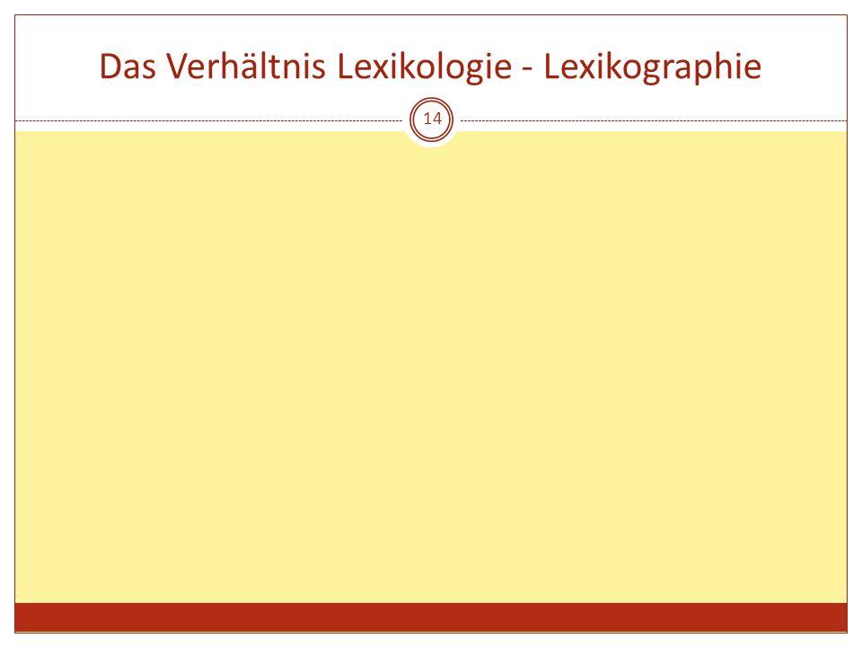 Das Verhältnis Lexikologie - Lexikographie 14