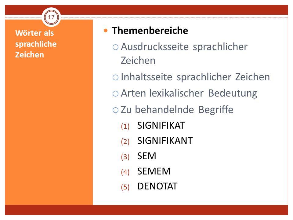 Wörter als sprachliche Zeichen Themenbereiche Ausdrucksseite sprachlicher Zeichen Inhaltsseite sprachlicher Zeichen Arten lexikalischer Bedeutung Zu b