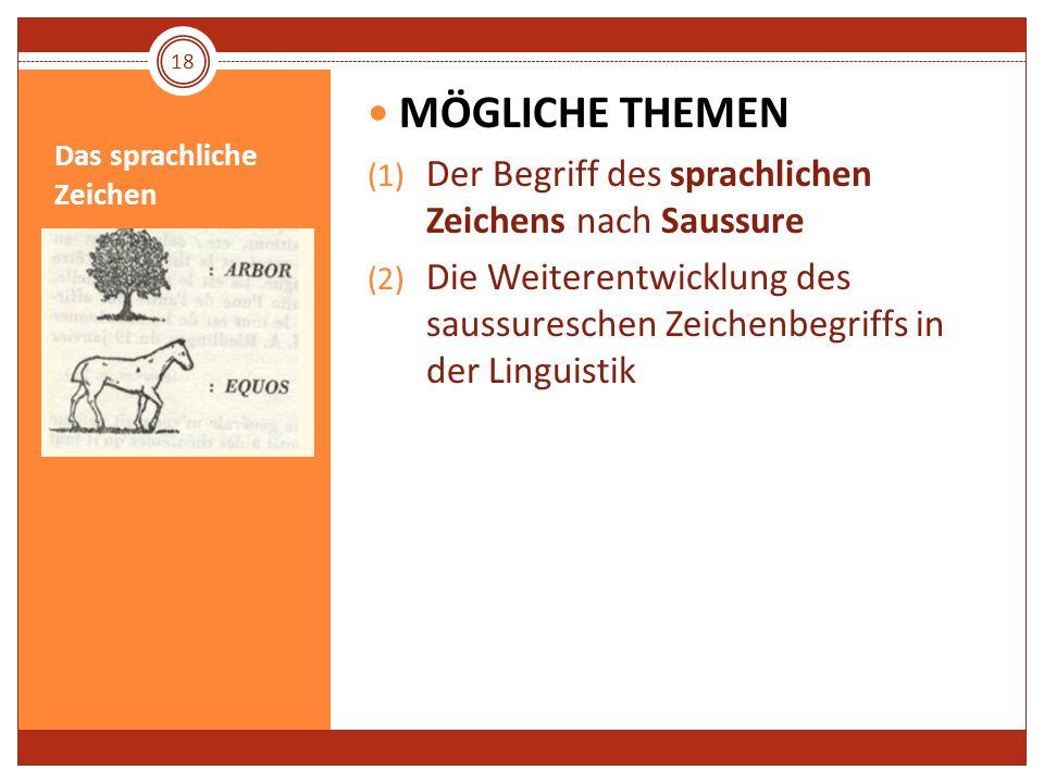 Das sprachliche Zeichen MÖGLICHE THEMEN (1) Der Begriff des sprachlichen Zeichens nach Saussure (2) Die Weiterentwicklung des saussureschen Zeichenbeg