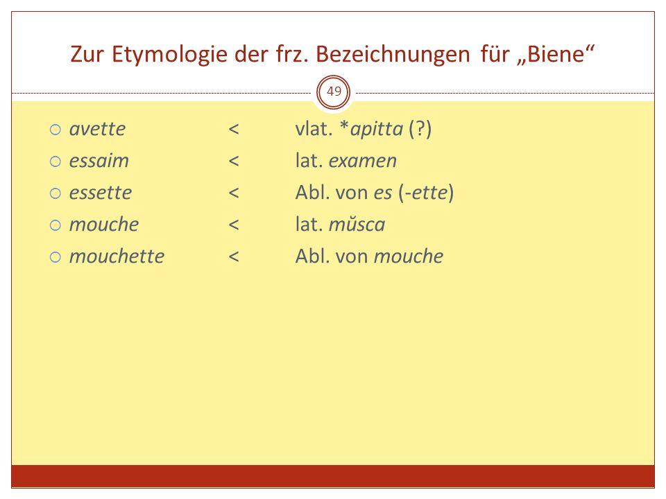49 Zur Etymologie der frz. Bezeichnungen für Biene avette < vlat. *apitta (?) essaim <lat. examen essette<Abl. von es (-ette) mouche<lat. mŭsca mouche