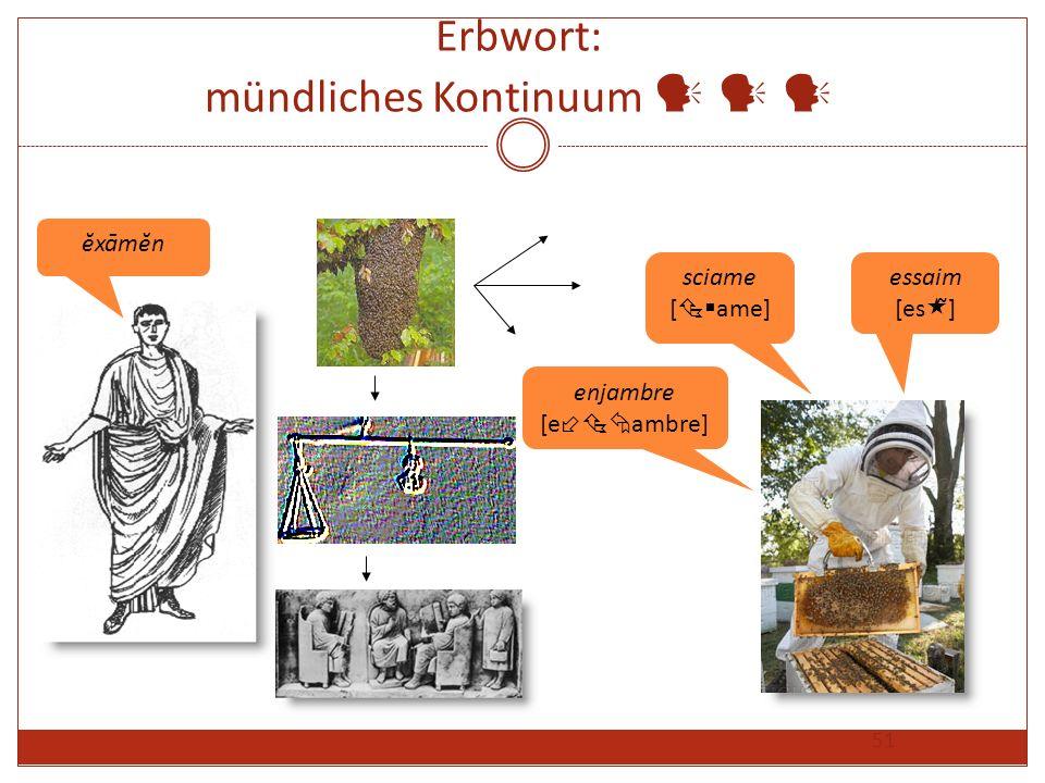 51 Erbwort: mündliches Kontinuum ĕxāmĕn sciame [ ame] essaim [es ̃] enjambre [e ambre]