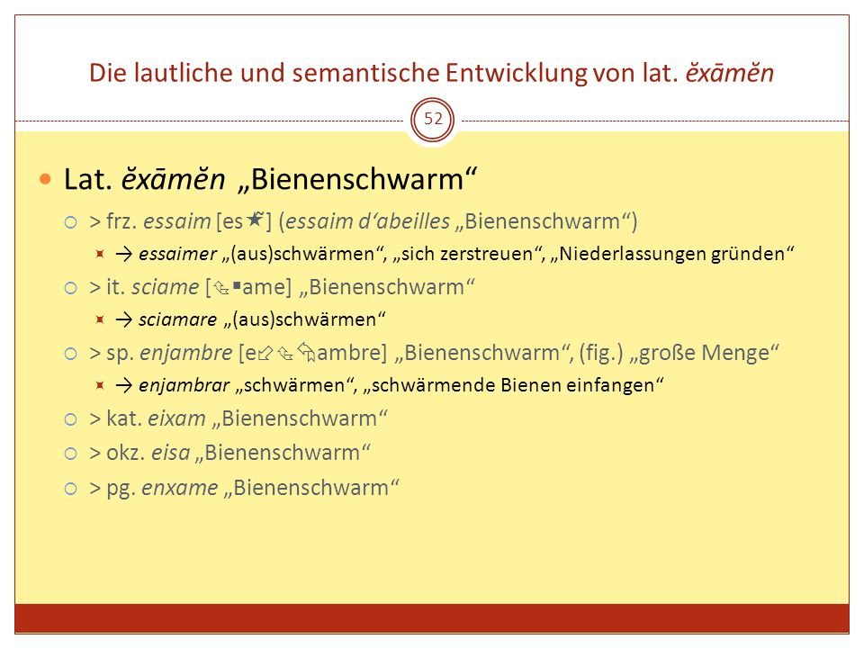 52 Die lautliche und semantische Entwicklung von lat. ĕxāmĕn Lat. ĕxāmĕn Bienenschwarm > frz. essaim [es ̃] (essaim dabeilles Bienenschwarm) essaimer