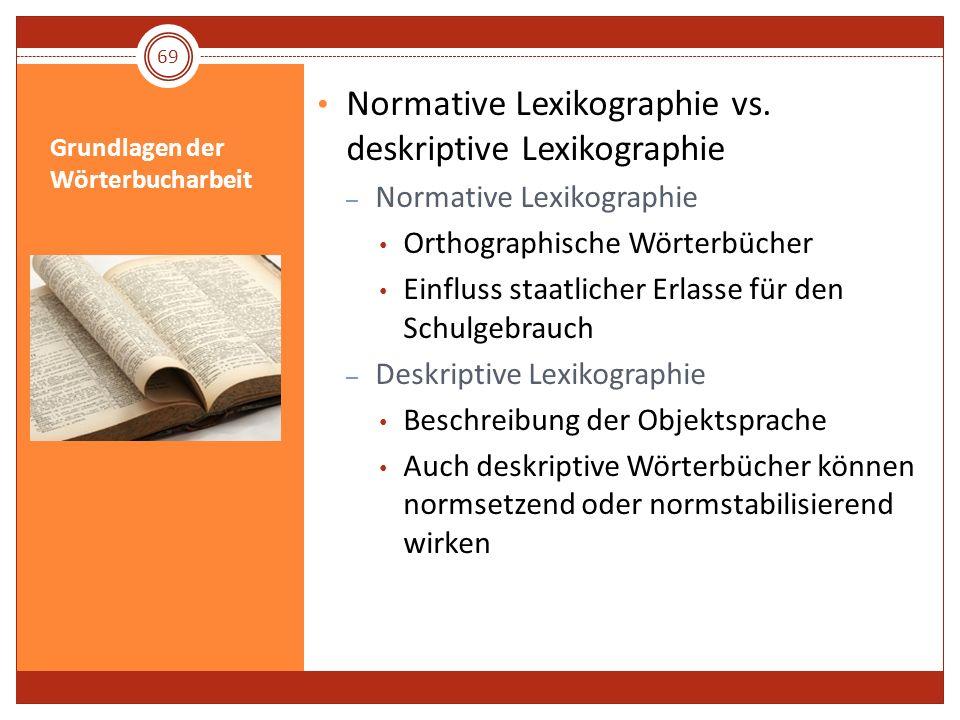 Grundlagen der Wörterbucharbeit Normative Lexikographie vs. deskriptive Lexikographie – Normative Lexikographie Orthographische Wörterbücher Einfluss