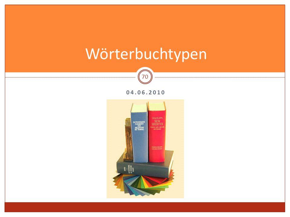 04.06.2010 Wörterbuchtypen 70