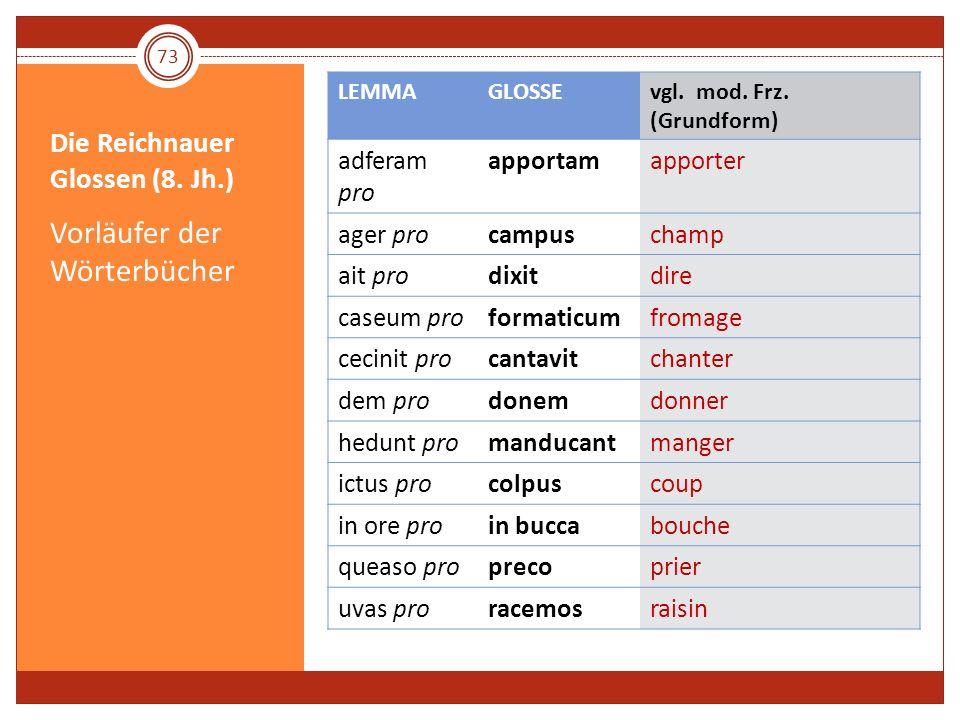 Die Reichnauer Glossen (8. Jh.) Vorläufer der Wörterbücher LEMMAGLOSSEvgl. mod. Frz. (Grundform) adferam pro apportamapporter ager procampuschamp ait