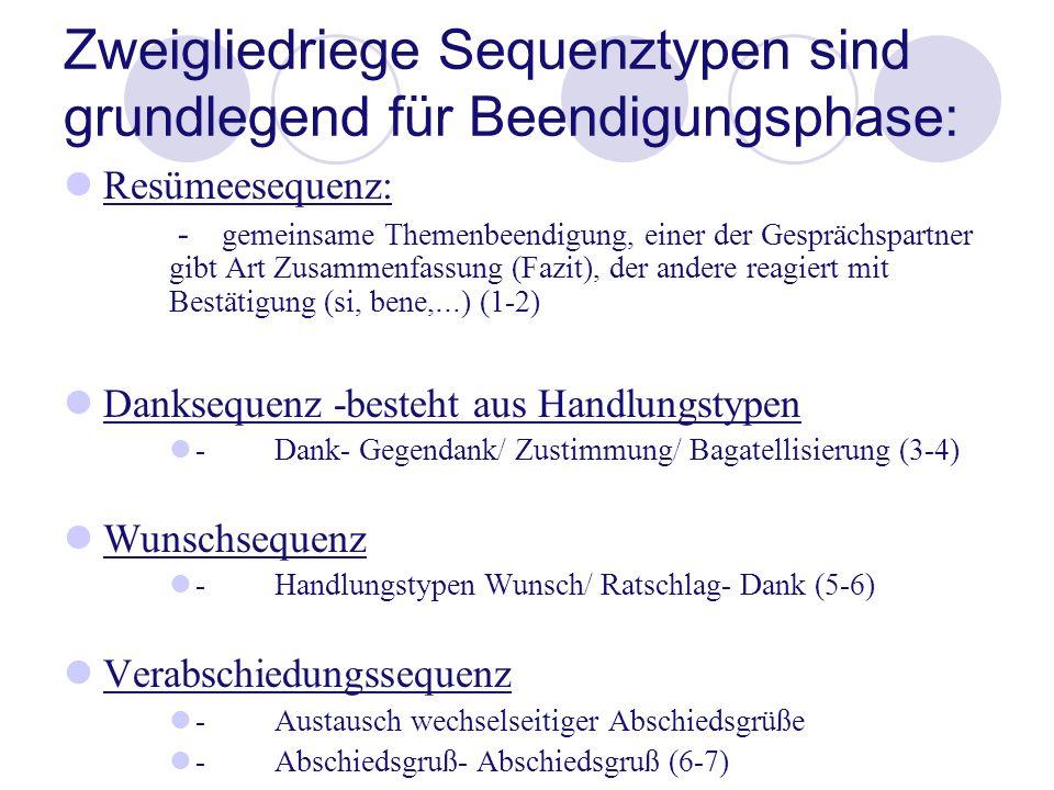 Zweigliedriege Sequenztypen sind grundlegend für Beendigungsphase: Resümeesequenz: - gemeinsame Themenbeendigung, einer der Gesprächspartner gibt Art