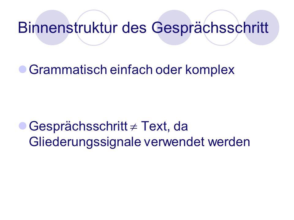 Binnenstruktur des Gesprächsschritt Grammatisch einfach oder komplex Gesprächsschritt Text, da Gliederungssignale verwendet werden