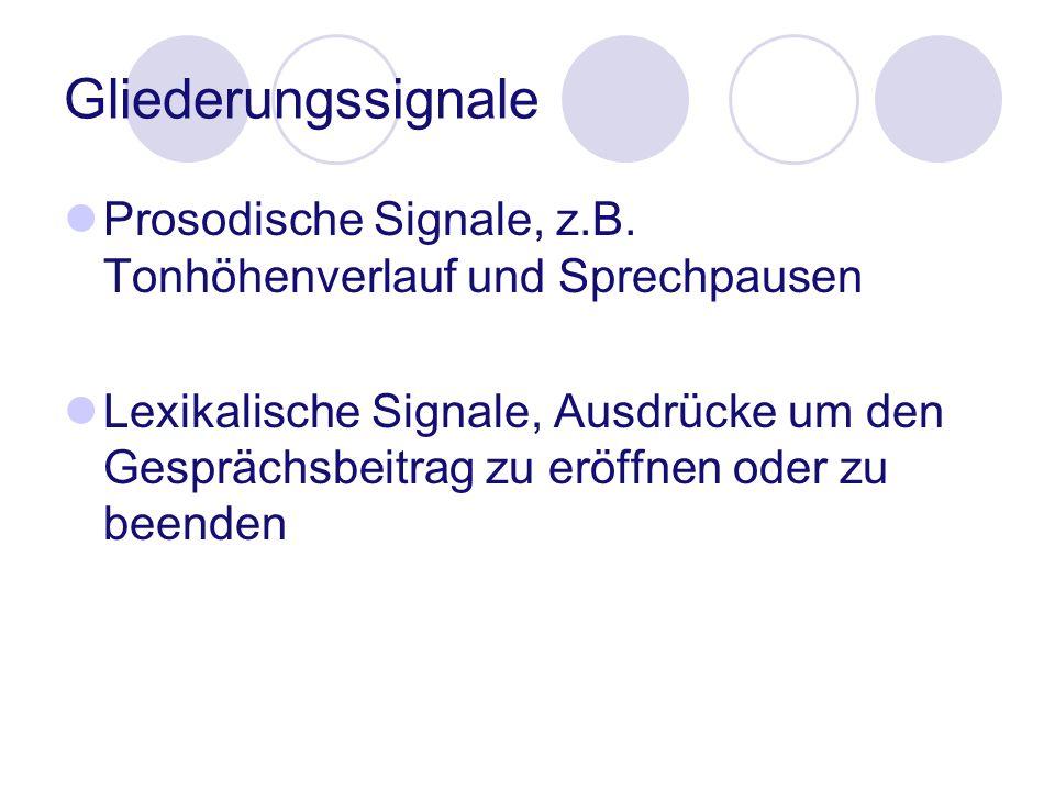 Gliederungssignale Prosodische Signale, z.B. Tonhöhenverlauf und Sprechpausen Lexikalische Signale, Ausdrücke um den Gesprächsbeitrag zu eröffnen oder