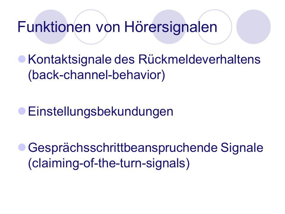 Funktionen von Hörersignalen Kontaktsignale des Rückmeldeverhaltens (back-channel-behavior) Einstellungsbekundungen Gesprächsschrittbeanspruchende Sig