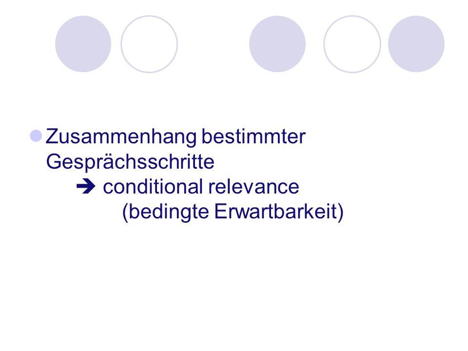 Zusammenhang bestimmter Gesprächsschritte conditional relevance (bedingte Erwartbarkeit)