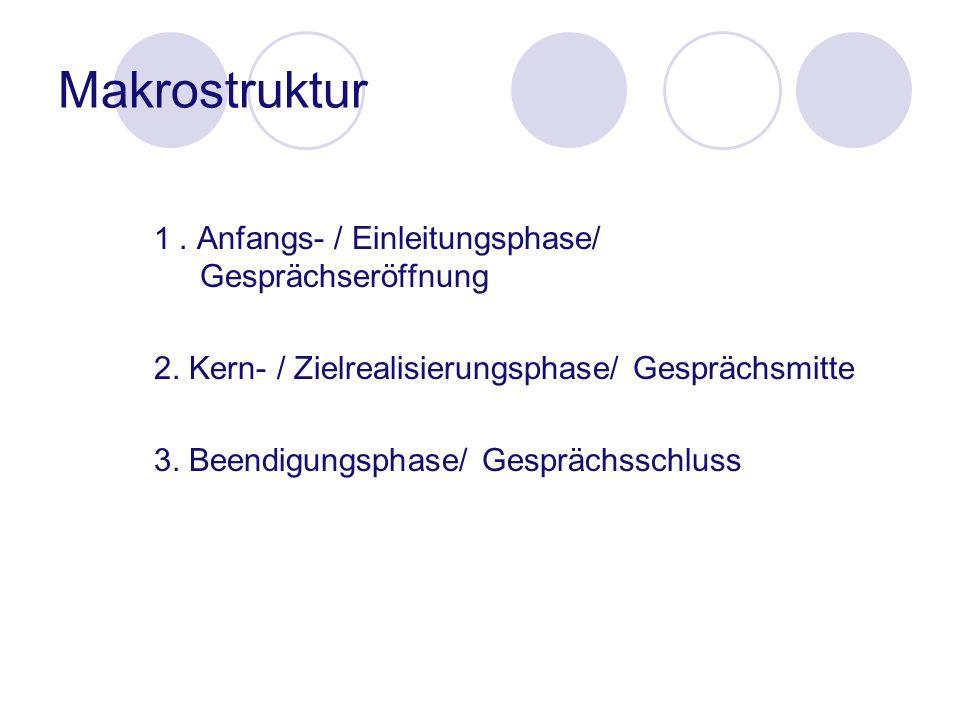 1. Anfangs- / Einleitungsphase/ Gesprächseröffnung 2. Kern- / Zielrealisierungsphase/ Gesprächsmitte 3. Beendigungsphase/ Gesprächsschluss