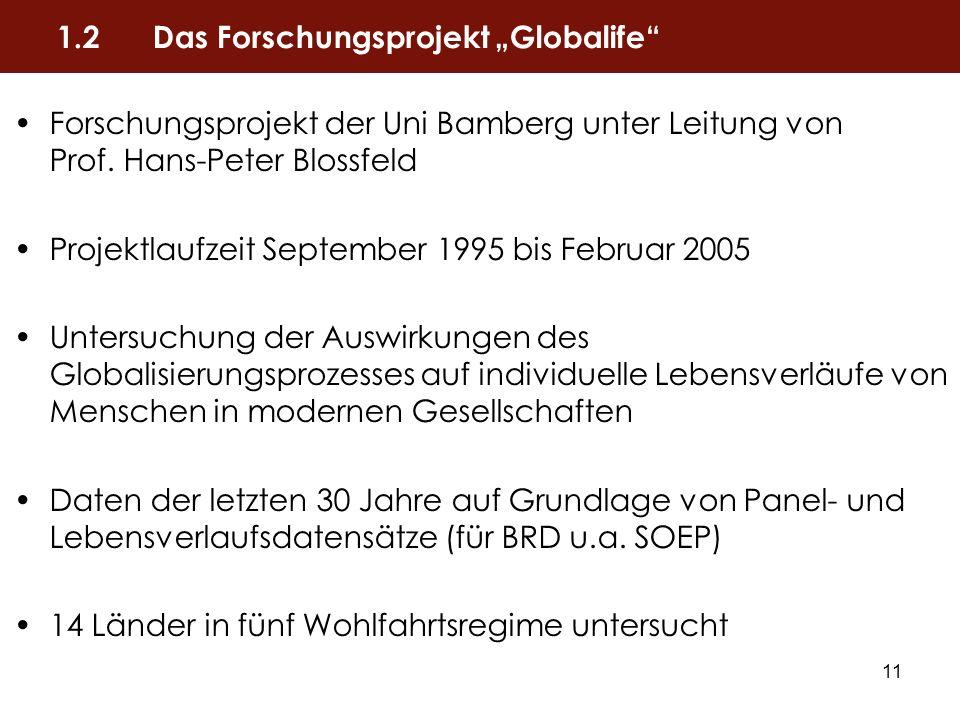 11 Forschungsprojekt der Uni Bamberg unter Leitung von Prof. Hans-Peter Blossfeld Projektlaufzeit September 1995 bis Februar 2005 Untersuchung der Aus