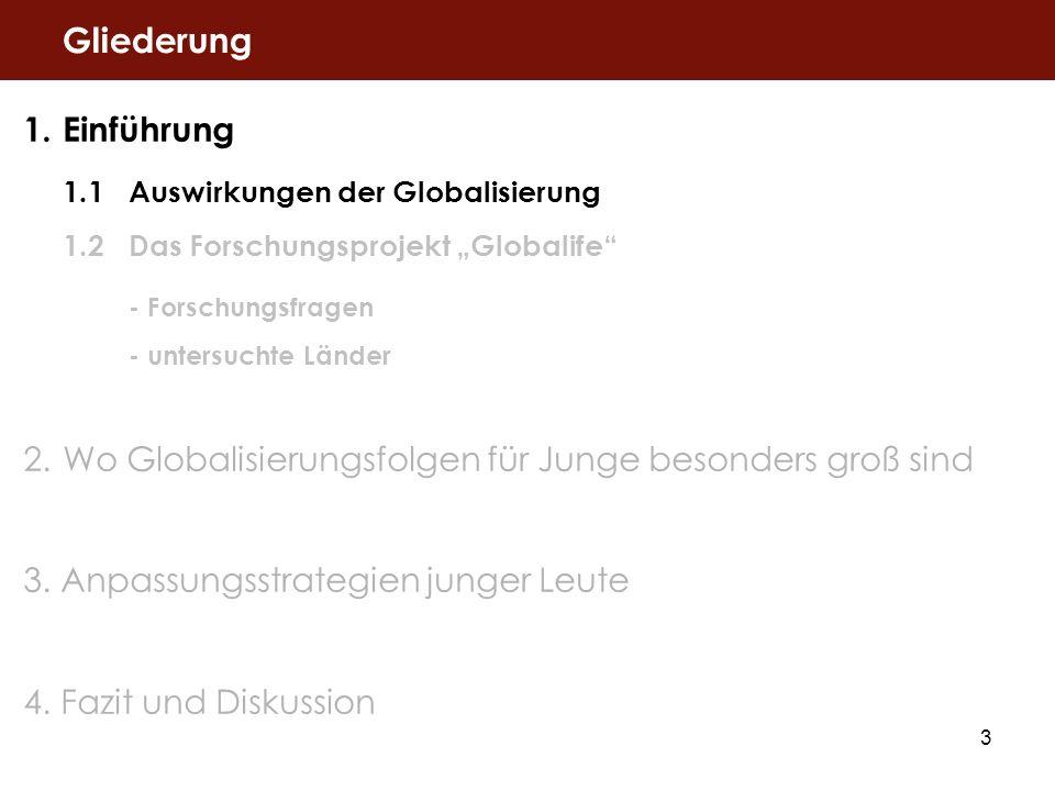 3 1.Einführung 1.1Auswirkungen der Globalisierung 1.2Das Forschungsprojekt Globalife - Forschungsfragen - untersuchte Länder 2.Wo Globalisierungsfolge