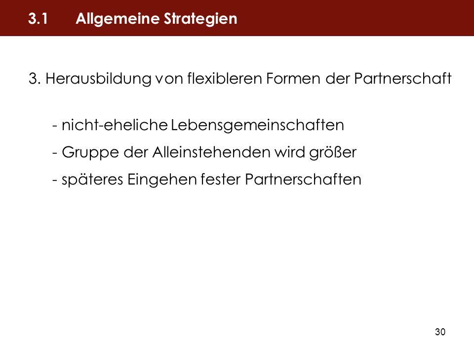 30 3. Herausbildung von flexibleren Formen der Partnerschaft - nicht-eheliche Lebensgemeinschaften - Gruppe der Alleinstehenden wird größer - späteres
