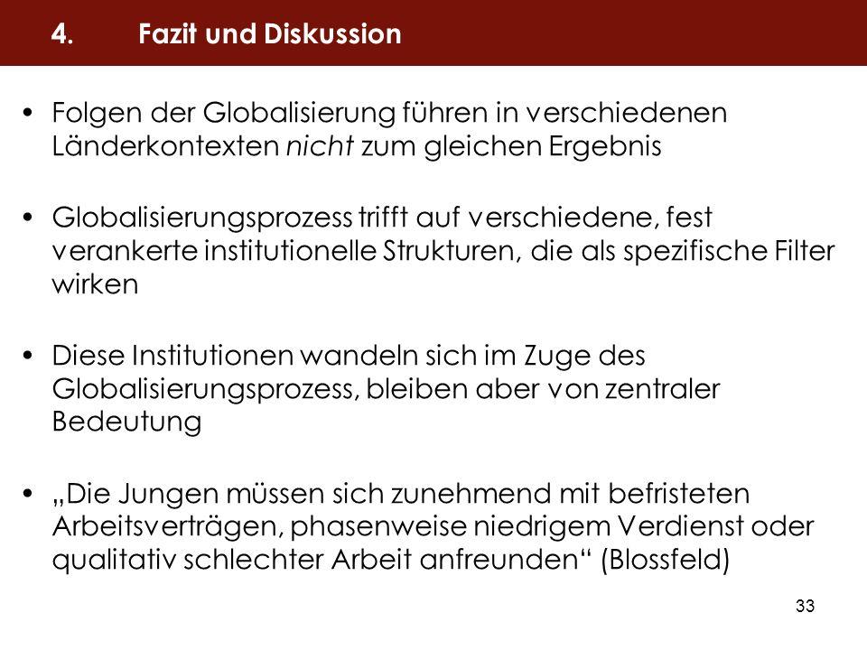 33 Folgen der Globalisierung führen in verschiedenen Länderkontexten nicht zum gleichen Ergebnis Globalisierungsprozess trifft auf verschiedene, fest