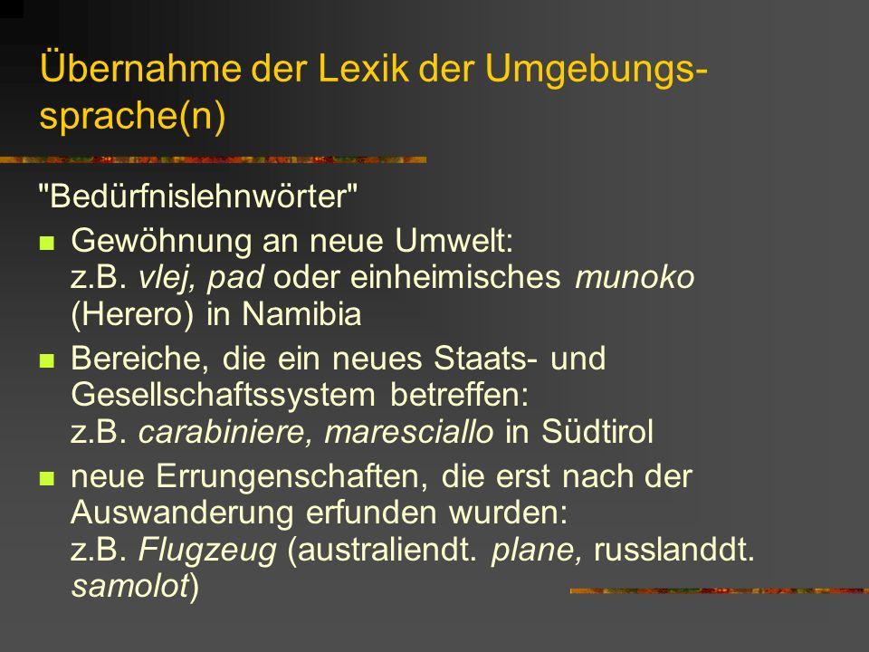 Übernahme der Lexik der Umgebungs- sprache(n) Bedürfnislehnwörter Gewöhnung an neue Umwelt: z.B.