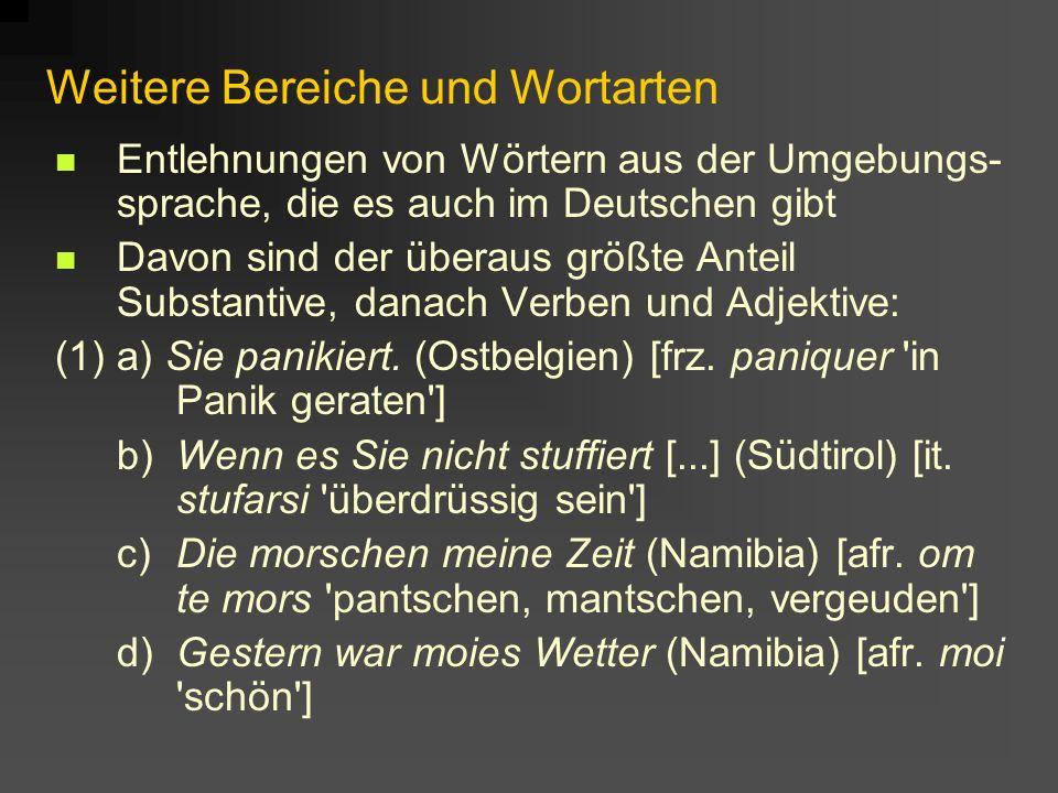 Weitere Bereiche und Wortarten Entlehnungen von Wörtern aus der Umgebungs- sprache, die es auch im Deutschen gibt Davon sind der überaus größte Anteil